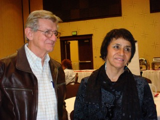 Gerald Vizenor with Erma Vizenor, Chairwoman of the White Earth Nation, at a conference on the Constitution of the White Earth Constitution, 2010.