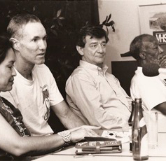 Luci Topahonso, Andred Holleran, Gerald Vizenor, John Williams at the  University of Erlangen, German, 1992.
