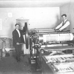 "Theodore & Augustus  Beaulieu in the ""The Tomahawk"" press room. Image courtesy of the Minnesota Historical Society."